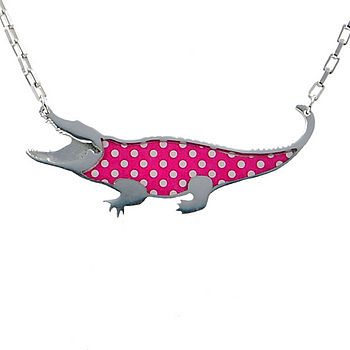 Polka Dot Crocodile Chain Necklace