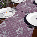 Organic Printed Table Runner Violet