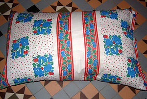Large Vintage Feedsack Cushions - furniture