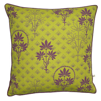 Organic Printed Cushion Cover Lime