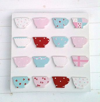 Handpainted Teacup Canvas - Bright Colourway