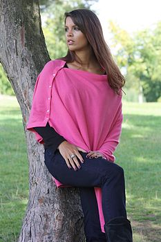 Pink Cashmere Poncho Wrap With Heart Buttons