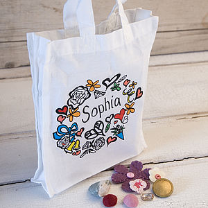 Girl's Personalised Tote Gift Bag - wedding favours