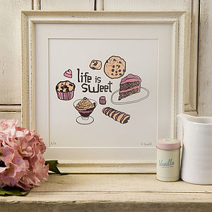 'Life is Sweet' Screen Print - posters & prints