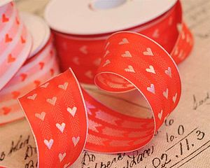 Red And White Heart Valentine Ribbon