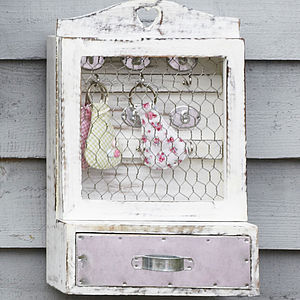 Distressed White Key Cupboard - furniture
