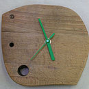 up cycled wooden clock light timber