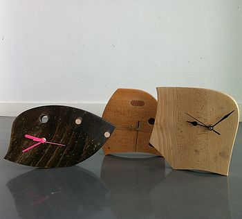 up cycled wooden clock timber variation
