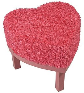 Hot Pink Fluffy Heart Stool - furniture