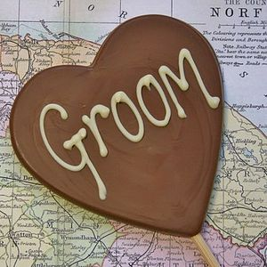 'Groom' Handmade Chocolate Lolly - edible favours