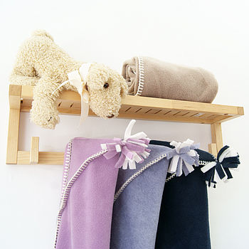 hooded baby blankets cyclamen, lavender and navy