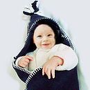 Navy Newborn Hooded Fleece Wrap