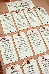 'Fly away with me' Luggage Tag Table Plan - wedding stationery