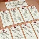 'Fly away with me' Luggage Tag Table Plan