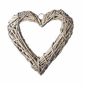 Small Grey Willow Heart Wreath