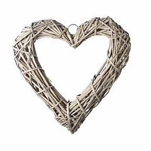 Grey Willow Heart Wreath - flowers & plants