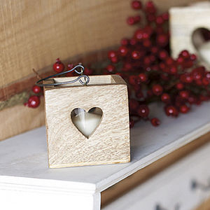 Heart Wooden Lantern - christmas lights