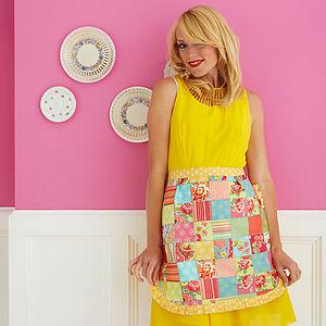 Martha Reversible Cotton Half Apron - aprons