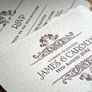 Vintage Style Wedding Invitation Close up