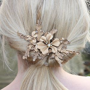 Burnished Pearl Leather Bridal Comb - hats, hairpieces & hair clips