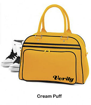 Personalised retro travel bag mustard