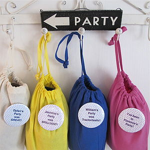 Personalised Party Loot Bags With Badge - party bags and ideas