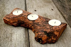 Rustic Olive Wood Tea Light Holder - table decorations
