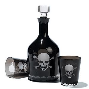 Skull & Crossbones Glass Decanter & Tumblers - glassware