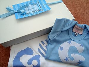 Personalised Boy's Blanket And Bodysuit Set - babygrows