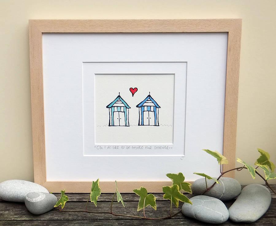 Beside The Seaside, Handmade Beach Huts Print