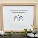 Beside The Seaside, Handmade Beach Huts Print
