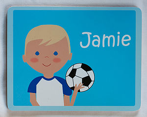 Personalised Footballer Placemat - dining room