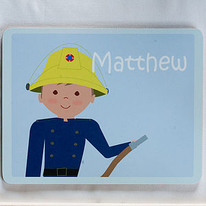 Personalised Fireman Placemat - children's tableware