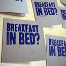 'Breakfast In Bed' Handprinted Linocut Card