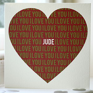 Personalised 'I Love You' Anniversary Card
