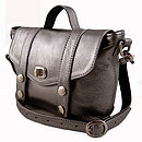 Metallic Pewter Mini Satchel Handbag