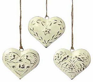 Set Of Three Vintage Metal Hearts - wedding favours