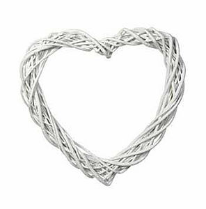 White Willow Open Heart Wreath - flowers & plants