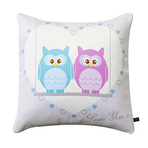 Owls On Love Swing Cushion - winter sale
