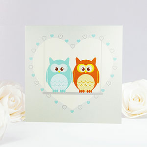 Owls On Love Swing Greeting Card - engagement cards