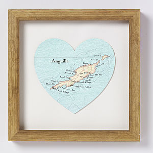 Anguilla Map Heart Print