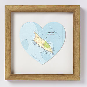 Aruba Map Heart Print