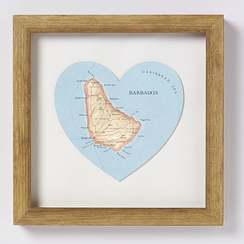 Barbados map heart print natural wood frame