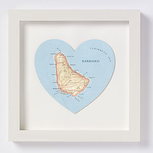 Barbados Map Heart Print