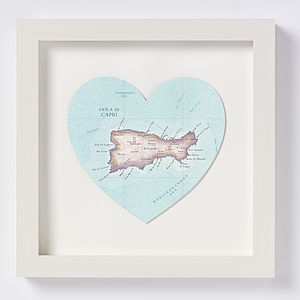 Capri Map Heart Print Honeymoon Gift - posters & prints