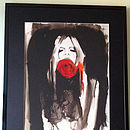 Woman With Rose Ink Illustration Print