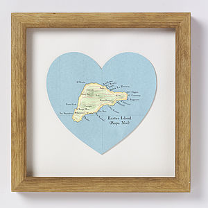 Easter Isle Map Heart Print - art & pictures