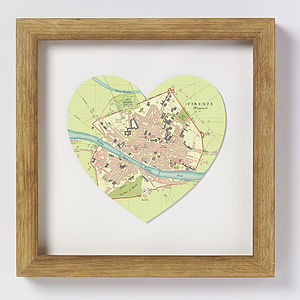 Florence Map Heart Print - prints & art sale