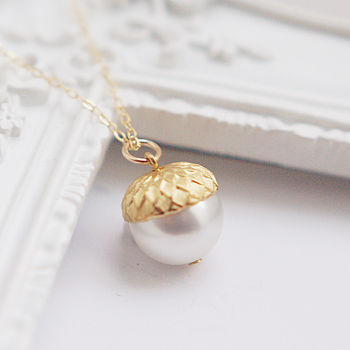 Gold And Pearl Acorn Necklace