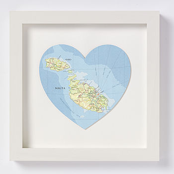 Malta and Gozo map heart print white frame